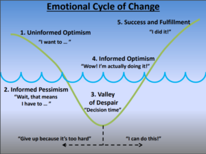 Depicts a curve that begins at the top left, then dips down after a slight rise. a horizontal 'water line' appears across the middle of the graph. The curve dips down below the water line and then climbs back up to the right. Five stages are labeled: Uninformed optimism, Informed pessimism, Valley of Despair (which contains a choice of whether to give up or stick it out), Informed optimism, and finally success and fulfilment.