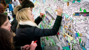 Image shows a giant coloring mural by Fancy Features